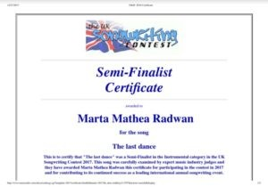 The UK Songwritting Contest award
