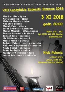 VIII Londynskie Zaduszki Jazzowe/ 8th London All Souls' Jazz Festival 2018
