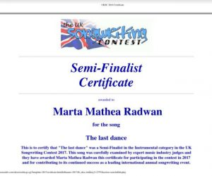 """The UK Songwritting Contest award. Certificate for the song """"The last dance"""""""